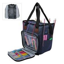 Stricken Tasche Tragbare Garn Tote Lagerung Tasche für Wolle Häkeln Haken Stricken Nadeln Nähen Organizer Supplies DIY Häkeln Tasche