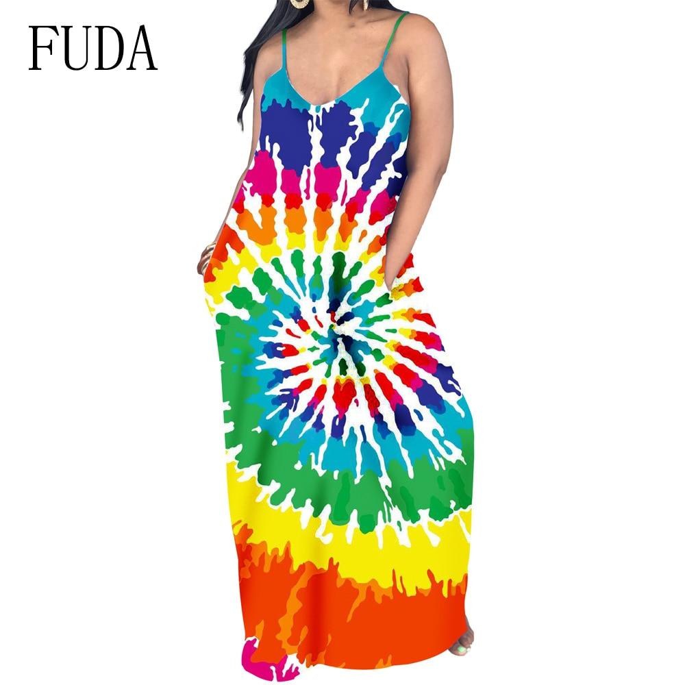 FUDA Casual Vintage Classic Loose Maxi Dress Printing Sleeveless V Neck Floor Length Summer Beach Party Long Dresses Female