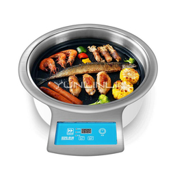 YUNLINLI Electric Grill Smokeless Paper Barbecue Round Commercial Grilled Meat Stove Korean Barbecue Oven DT31