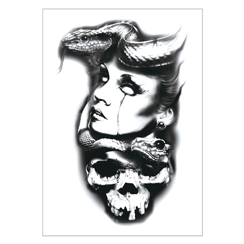 Waterproof Fake Tatoo Henna Wall Sticker Popular Brand Snake Girl Temporary Tattoo Sticker,15*21cm Flash Tattoo Stickers Beauty & Health Tattoo & Body Art