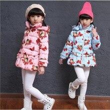 Корейской Зимой ребенка гриль ватные куртки коробка бабочка кружева мода дети тепло хлопка одежды пот комфорт детские топы