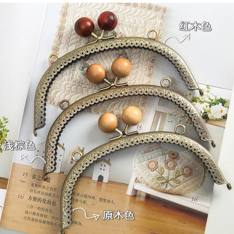 Vintage Bronze Color Wood Buckle Women Purse Frame Handbag Metal Clasp Hardware Accessories 3pcs/lot