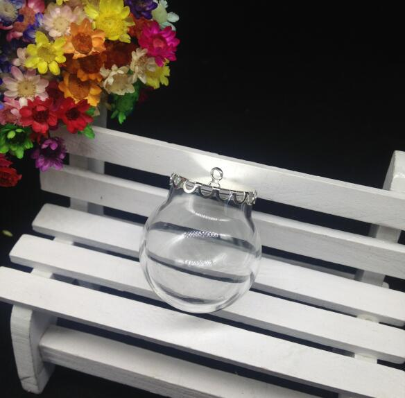 100pcs 3020mm Wholesale Glass Globe Bubble With Silver Lace Tray