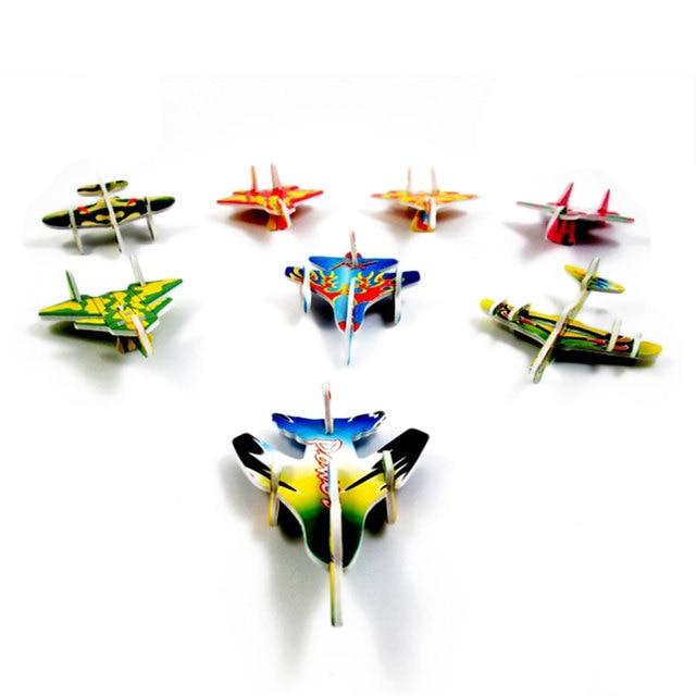 10pcs Montessori 3D Aircraft Models Cardboard Jigsaw Airplane Model Building Kids Toys for Children Funny DIY Toys Random Color 2