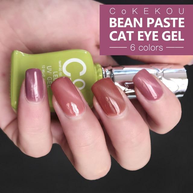 3D Magnetic Pink Cat Eye Gel CoKEKOU New Product Fashion UV LED Soak Off Bean Paste Nail Polish