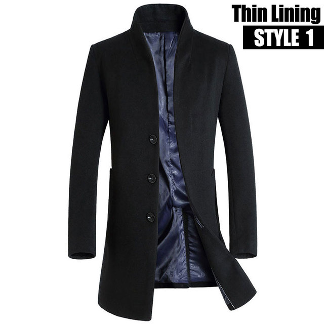 Winter Men Wool Trench Coat...