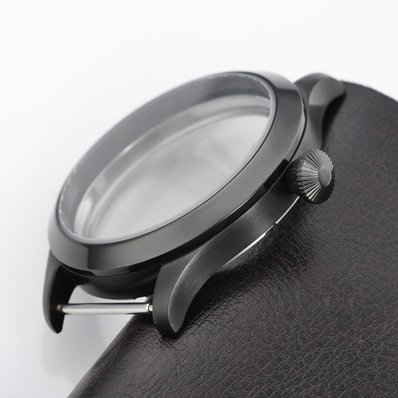 Pièces de montre, 44mm PVD boîtier pour hommes montre-bracelet ETA UNITAS 6497/6498 mouvement de remontage à la main