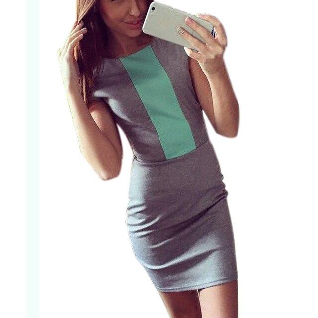 Sexy Summer Dress 2018 Women Sleeveless Japan Fashion Block Tight Fitted  Dresses Bodycon Elegant Office Midi dress Zipper J3271 0736083ba940