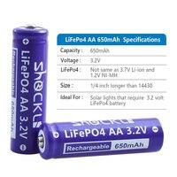 2 pz/lotto Shockli Lifepo4 3.2V 14500 AA batteria Ricaricabile agli ioni di Litio Cellula di Batteria 650mAh per la Macchina Fotografica e Solare ha condotto la Luce