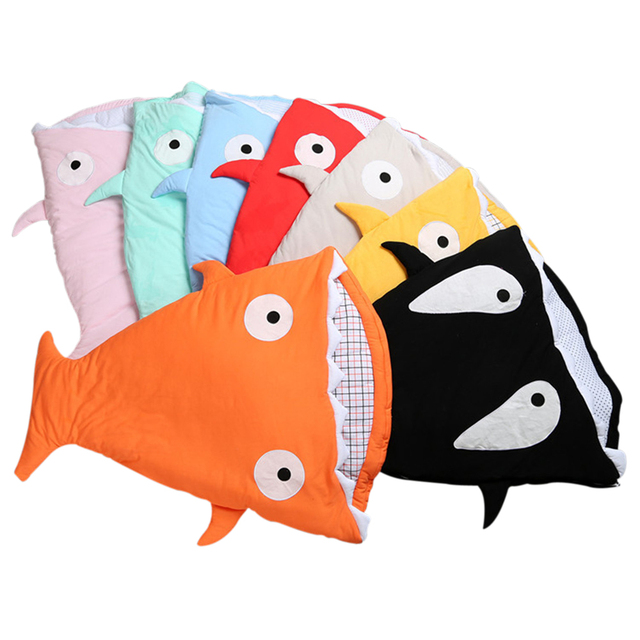 2017 Newborn Baby Cartoon Shark Sleeping Bags Winter Sleepsacks Infants Warm Pretty Sleepsacks Toddler Soft Carriage Cotton Bag