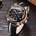 ¡Novedad! relojes LIGE de lujo para hombre con cronógrafo, reloj de cuero de lujo resistente al agua para hombre