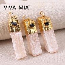 1pcs Amethysts Black Tourmaline Crystal Pendant Citrines Plaster With Natural Gold Plating Quartz Pendants Jewelry