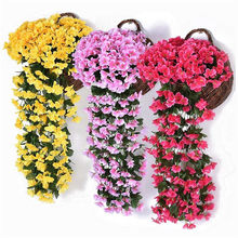 Hoomall Artificial Violet Flower Wall Wisteria Basket Simulation Rattan Plant for Wedding Decorations Home Garden Party Decor(China)
