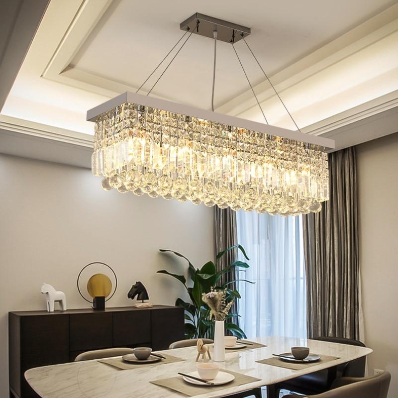 Modern Rectangular Dining Room Chandeliers Led Lustre Crystal Lamp For Bedroom Living Room Light Chandeliers Lamps Fixture
