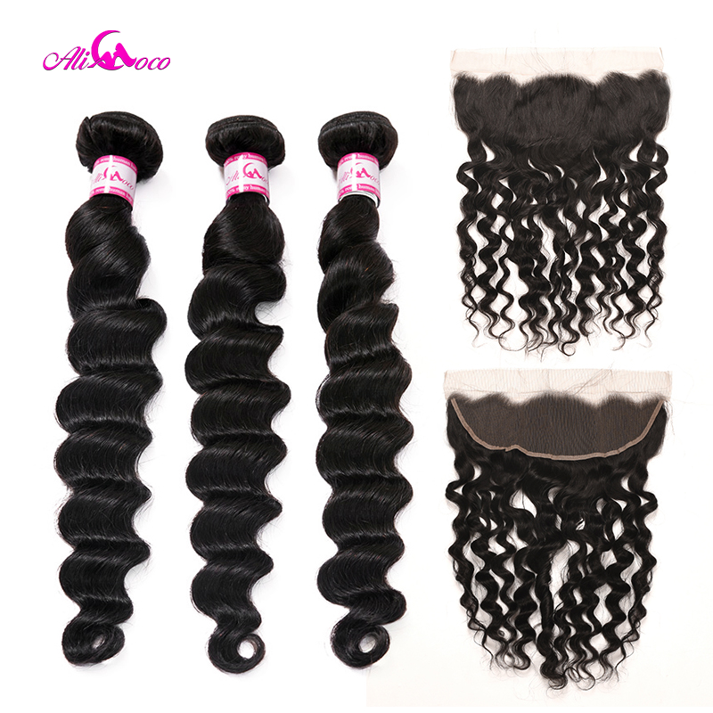 Ali Coco Brazilian Loose Deep Wave 2 3 Bundles With Ear To Ear Lace Frontal 8