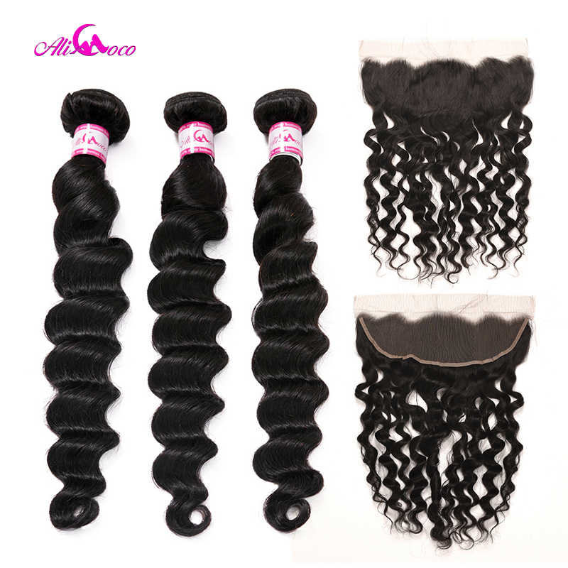Ali Coco Brazilian Loose Deep Wave 2/3 Bundles With Ear To Ear Lace Frontal 8-28 Inch Human Hair Weave Bundles Deals Remy Hair