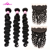 Ali Coco Brazilian Loose Deep Wave 2/3 Bundles With Ear To Ear Lace Frontal 8 28 Inch Human Hair Weave Bundles Deals Remy Hair