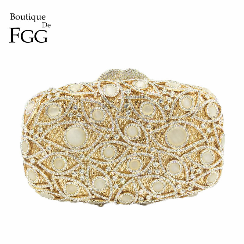 Boutique De FGG Crystal & Opal Stone Women Gold Evening Clutches Purse Hard Case Minaudiere Bag Metal Chain Shoulder HandbagBoutique De FGG Crystal & Opal Stone Women Gold Evening Clutches Purse Hard Case Minaudiere Bag Metal Chain Shoulder Handbag