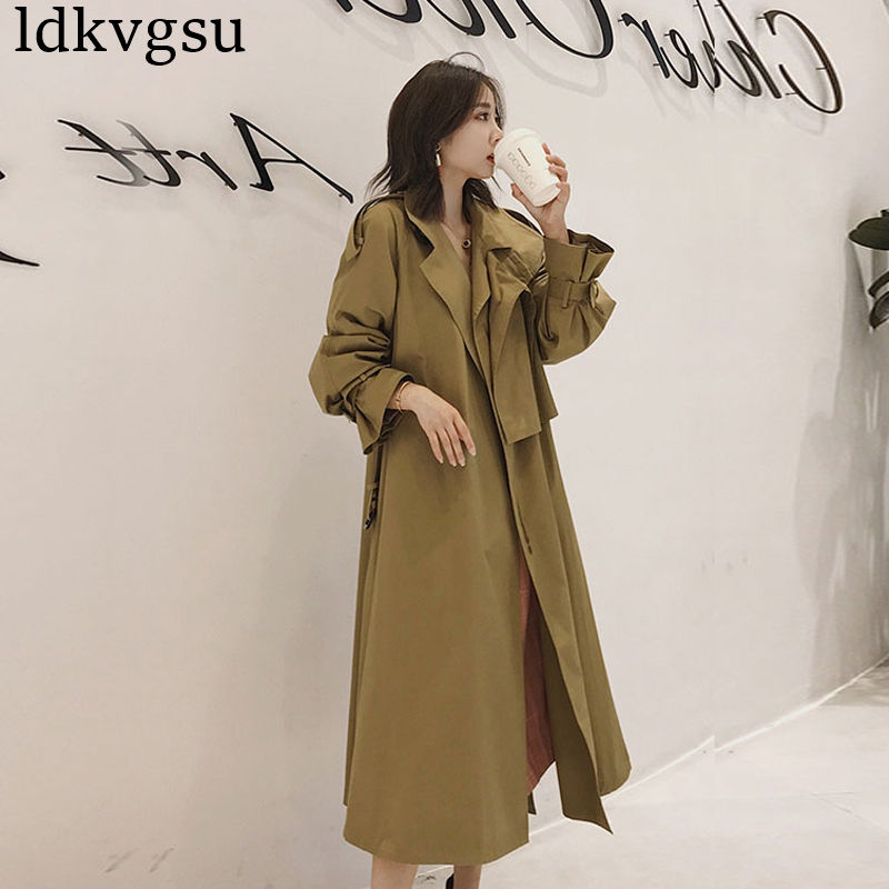 2019 NEW Korean Women's Spring Autumn   Trench   Coat Long Section Chic Khaki Windbreaker Female with Belt V243