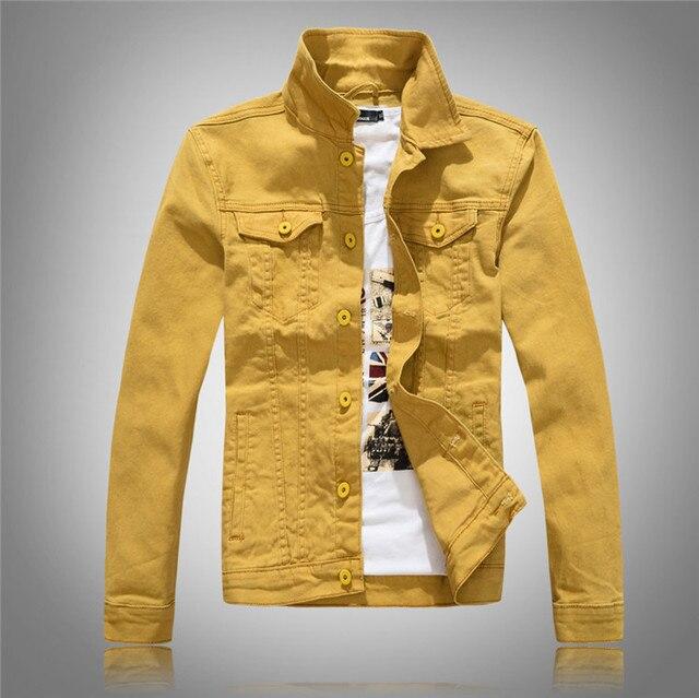 c451524334b New Fashion Men s Denim Jackets Slim Fit Spring Autumn Jeans Jacket Black  Yellow Pink Turn Down