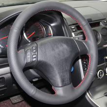 Free Shipping High Quality cowhide Top Layer Leather handmade Sewing Steering wheel covers protect For Mazda 3 Mazda 5 Mazda 6 цены