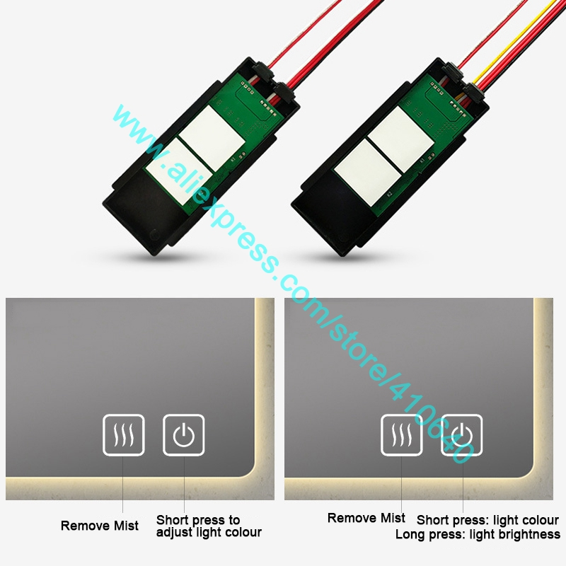 NEW ARRIVAL Double Key LED Mirror Touch Sensor Switch to Remove Mist Adjust Brightness and Colour of Light Blue White Back Light