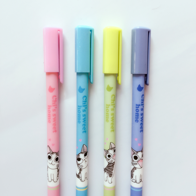 I06 4pcs/lot Cute Kawaii Cheese Cat Erasable Gel Pen Stationery School Office Supply Writing Student Gift Rewarding kawaii cartoon cat erasable pen cute dog gel pens for kids writing gift office school supplies free shipping 3931