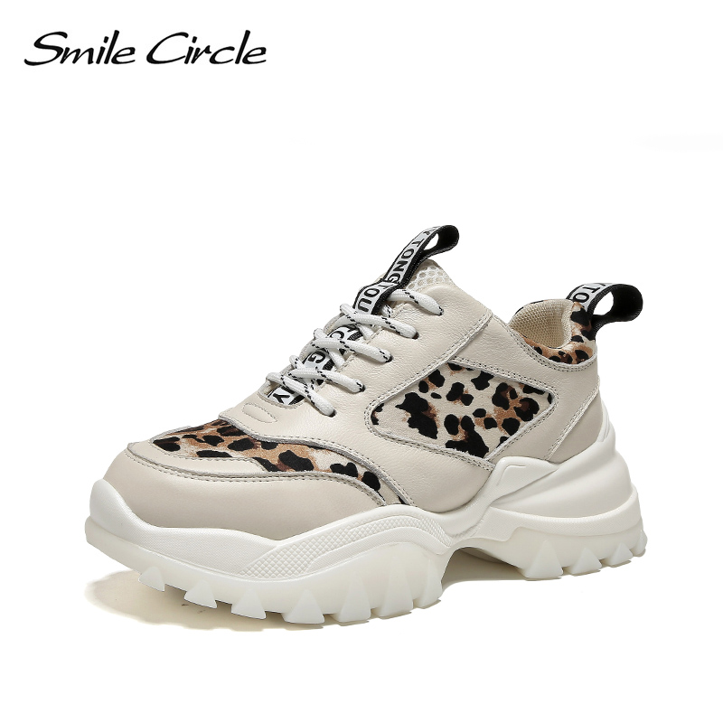 Smile Circle Women Sneaker Platform shoes Genuine Leather Lace-up Leopard casual outdoor Ladies Sneaker