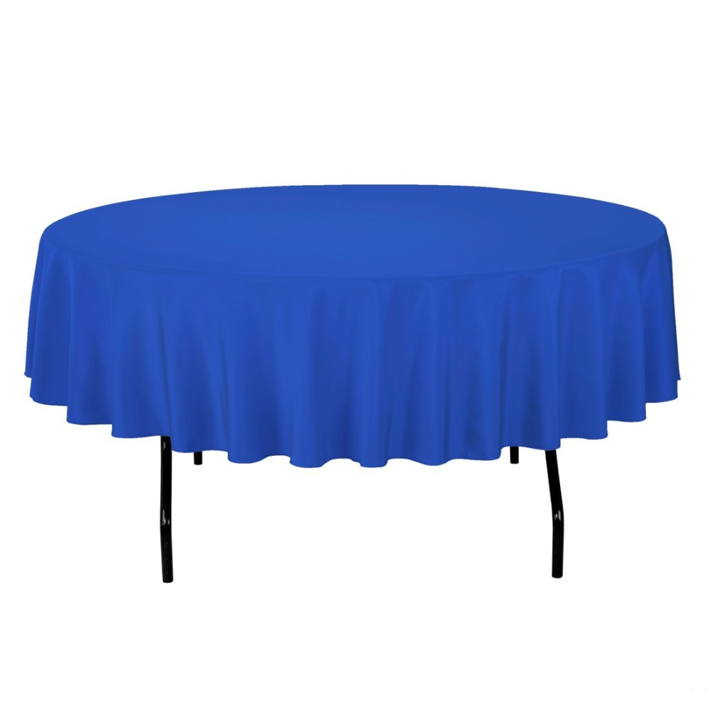 HK DHL Stain Feel 90 inch/230cm Polyester Round Tablecloth ROYAL BLUE for Wedding, 5/Pack