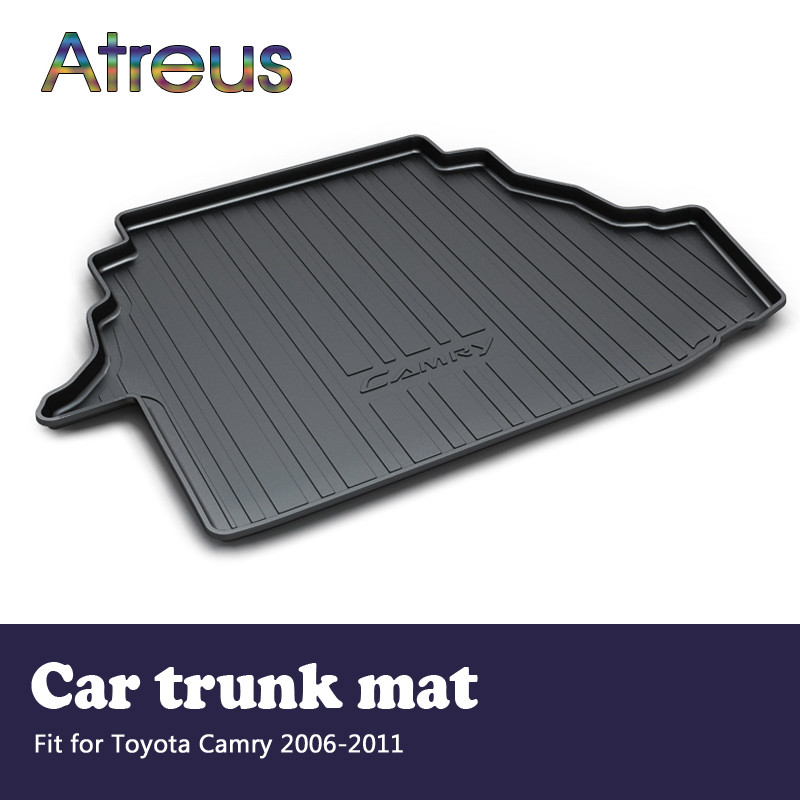 Atreus Car Rear Trunk Floor Mat Durable Carpet For Toyota Camry 40 XV40 2006-2011 Boot Liner Tray Waterproof Anti-slip mat atreus car rear trunk floor mat durable carpet for toyota corolla e140 e150 2007 2013 boot liner tray waterproof anti slip mat