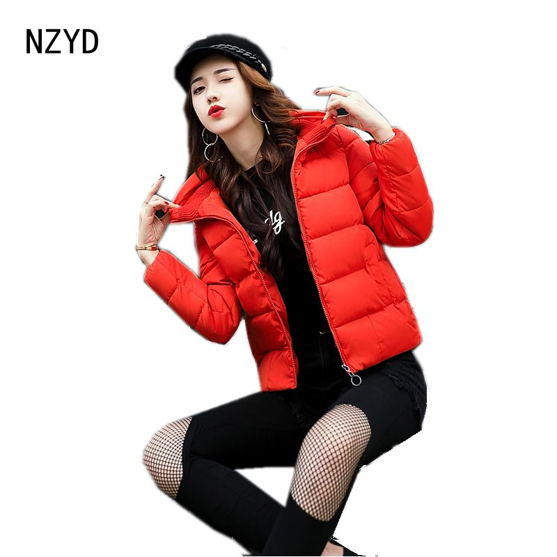 New Women Winter Parkas 2017 Fashion Stand collar Zipper Solid color Short Jacket Long sleeve Loose Big yards Coat LADIES205