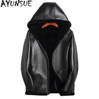 AYUNSUE зимняя куртка Для мужчин 100% овечья шерсть пальто Двусторонняя одежда кожаная куртка Для мужчин s реального чистого натурального меховы