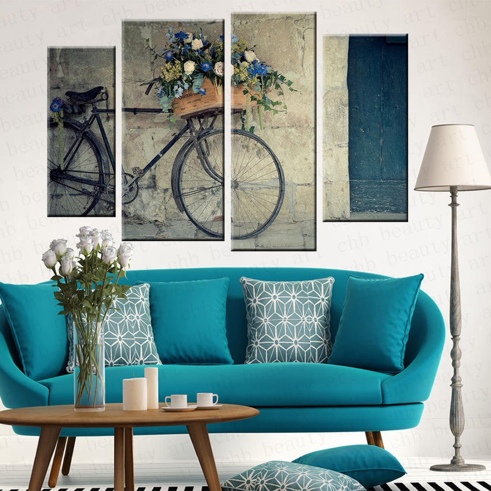 4 panel de bicicleta vintage impreso foto lienzo de for Cuadros clasicos para sala