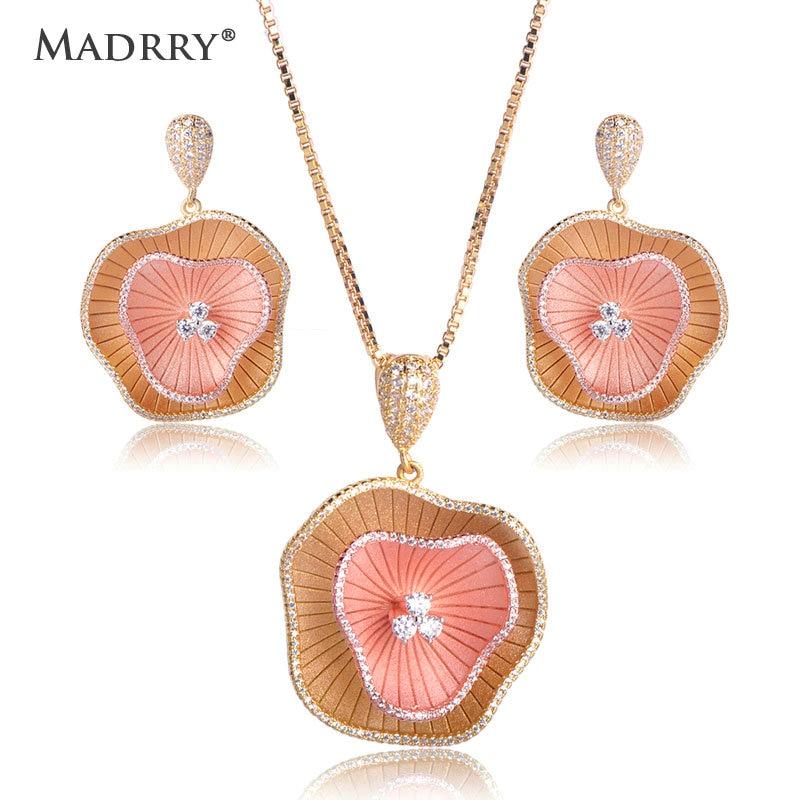 Madrry deux couches Lotus feuille pendentif collier Dangle boucles d'oreilles ensemble strass cuivre bijoux ensembles pour femmes accessoires de fête