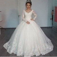 New Romantic V neck Elegant Princess Wedding Dress 2018 Long Sleeves Appliques Celebrity Ball Gown vestido De Noiva