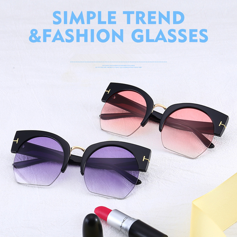 9f76a9bb23 Newest Semi-Rimless Sunglasses Women Brand Designer Clear Lens Sun Glasses  For Women Fashion Sunglass