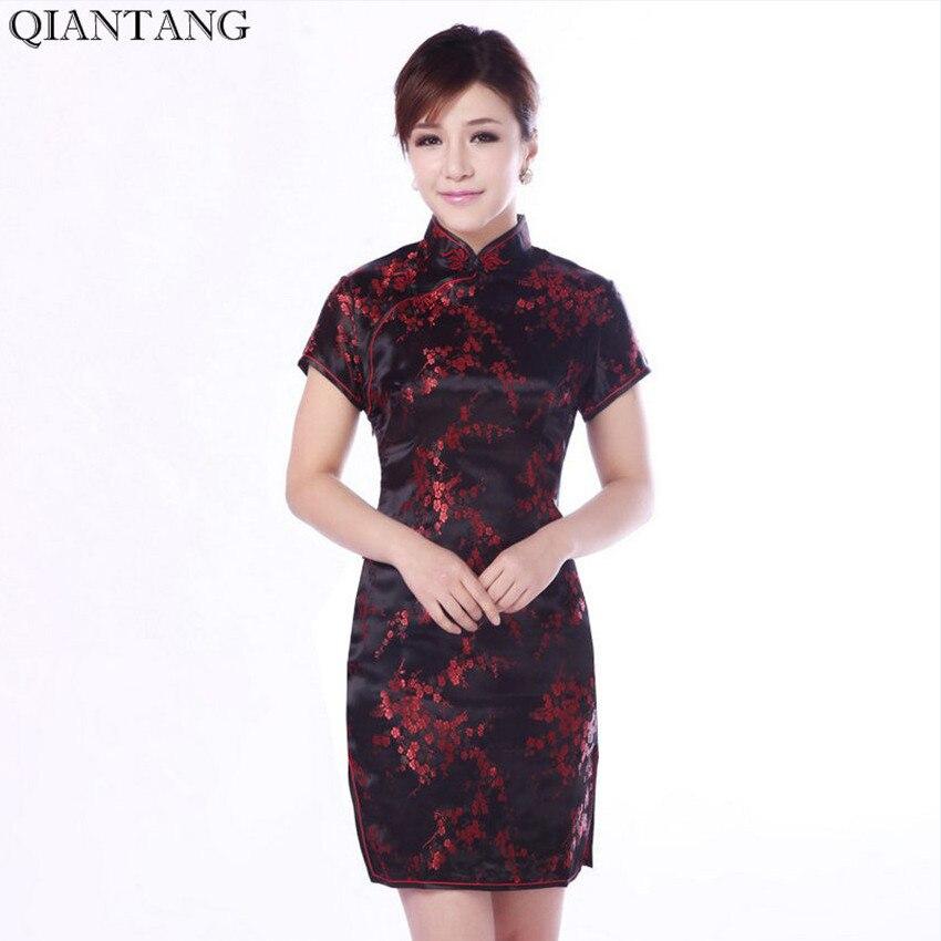 Hot Sale Elegantní černá čínská dámská Cheongsam Nové letní mini Qipao Drees Velikost S M L XL XXL Mujeres Vestido Jy4035