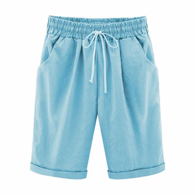 Oversized Women Summer Cotton linen Shorts Casual Ladies Drawstring Elastic Loose Short Trousers Plus Size S-8XL WDC2019 6