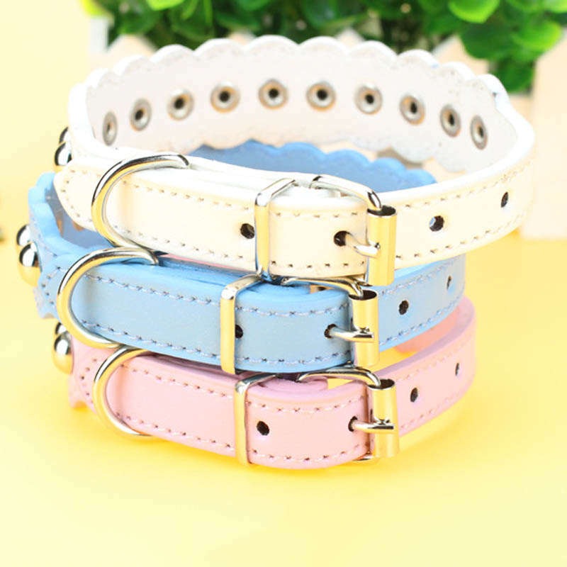 Pet Dog Collars Adjustable PU Leather Necklace Wave Rivets Puppy Collar Neck Straps TB Sale