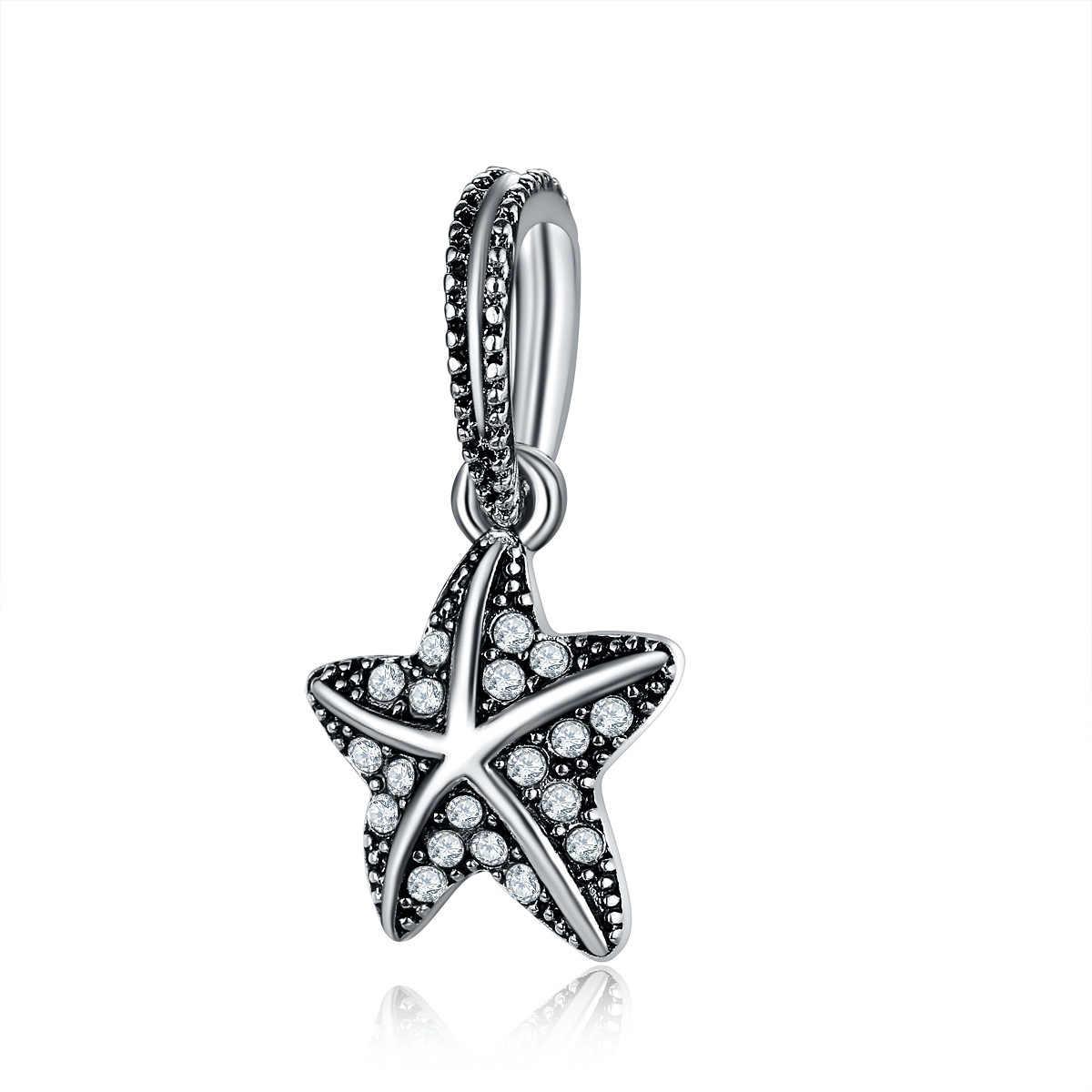 สีดำพราว Tropical Starfish Charm แท้ 925 เงินสเตอร์ลิง CZ Charm ผู้หญิงเครื่องประดับฤดูร้อนของขวัญ