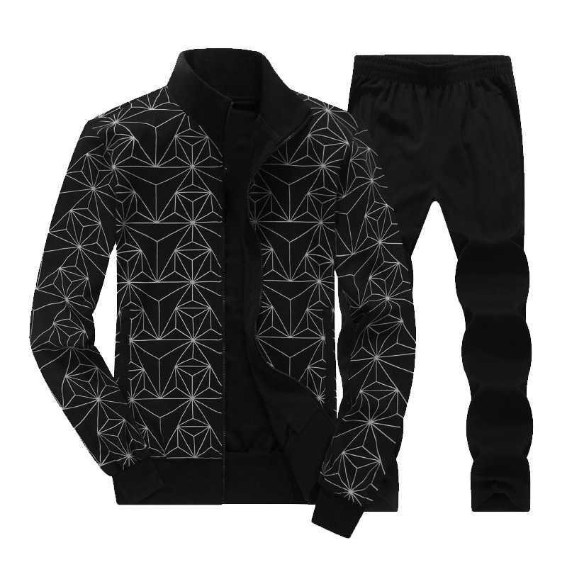 Hommes haute qualité 2018 automne deux pièces ensemble décontracté sport costume géométrique fermeture éclair imprimée vestes + pantalons hommes survêtement L-8XL