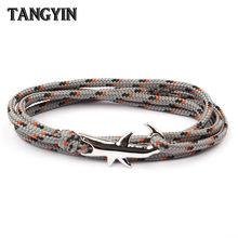 18 Colors Optional Hot Selling Viking Bracelets For Men And Women Silver Shark Multilayer Rope Bracelet Homme Femme Men Jewelry(China)