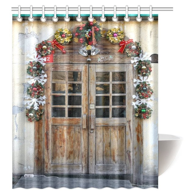 Aplysia Christmas Shower Curtain Rustic Wooden Door With Decorations In Farmhouse Countryside Fabric Bathroom Curtains