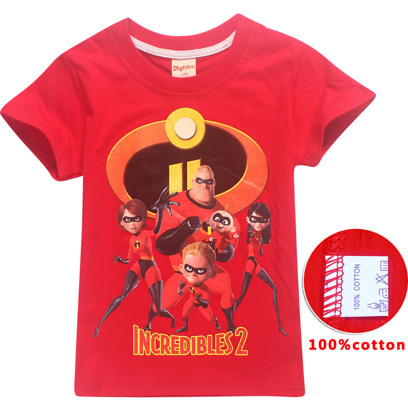 Girls Tops Christmas-Shirt Boys Clothes Thanksgiving Black 2 And Red Incredibles Cosplay