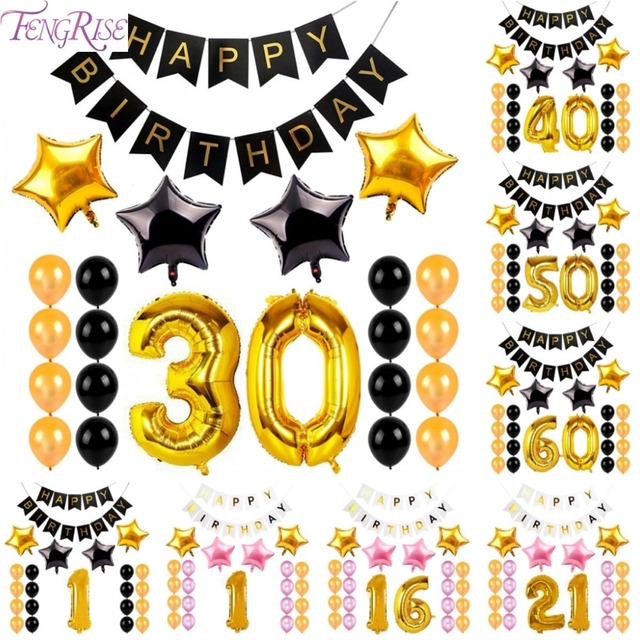 FENGRISE 1st 21st 30th 40th 50th 60th Happy 30 Birthday Banner Bunting Balloons Anniversary Decoration Party Supplies