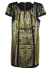 Luoanyfash 2017 new dresses Hot sale discount punk rivet metal stylish new gold sequins party dress ds club vestidos