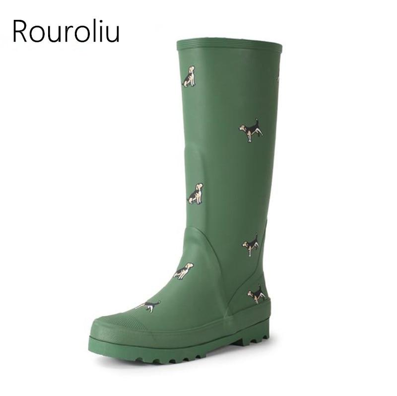 Rouroliu Women Rubber Rain Boots Anti slip Animals Print Rainboots Tall Wellies Knee high Water Shoes Woman TS176