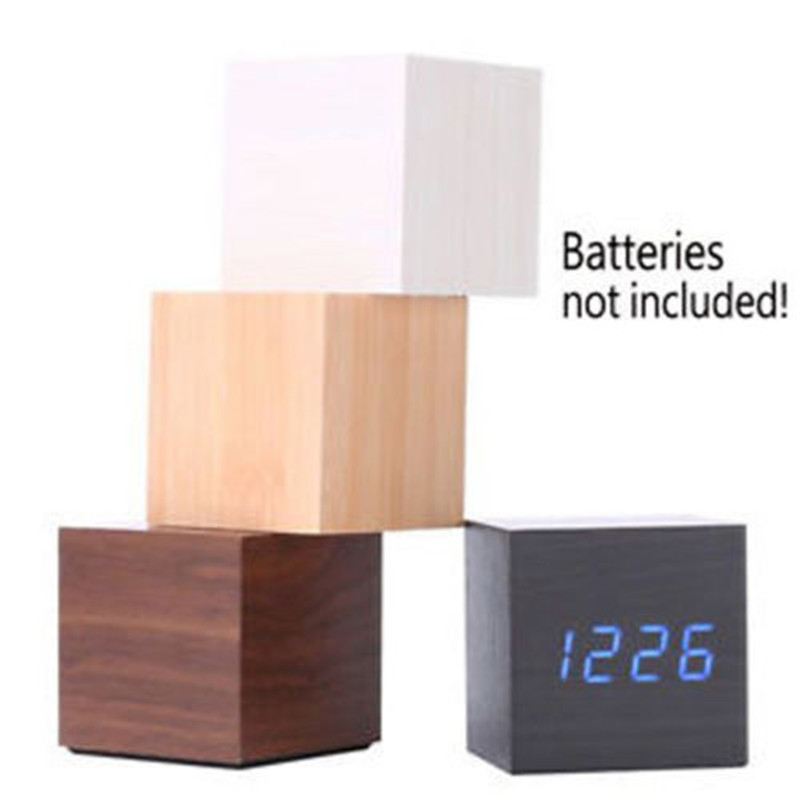 New Wooden Cube Digital LED Desk Alarm Thermometer Timer Calendar USB Clock B