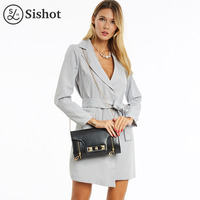 Sishot Women Casual Dresses 2017 Fall Long Sleeve Gray Stripes Cardigan Lace Up Asymmetrical Notched Lapel