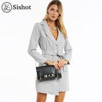 Sishot Women Casual Dresses 2017 Fall Long Sleeve Gray Stripes Cardigan Lace Up Asymmetrical Notched Lapel